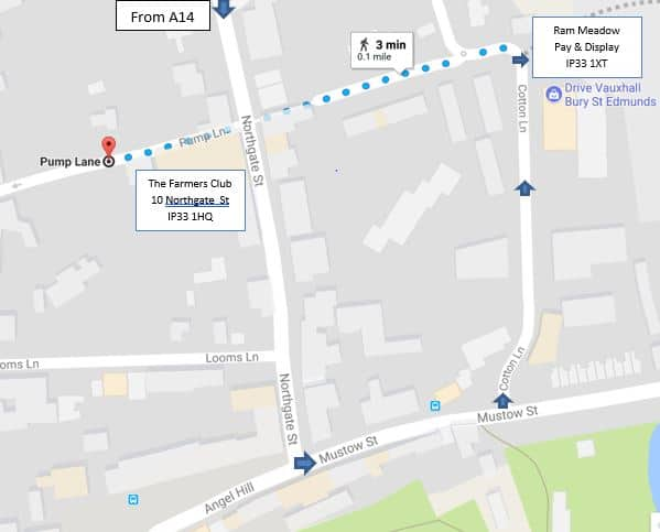 Directions to Ram Meadow car park ~ The Bury St Edmunds