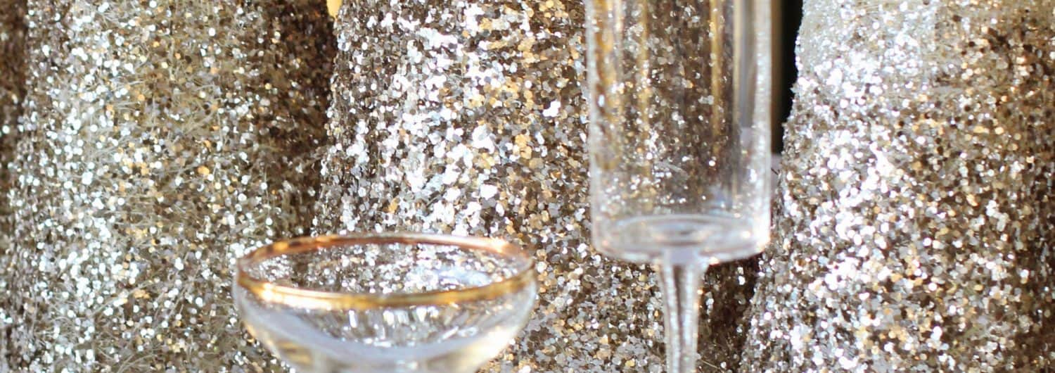 Champagne glasses and Christmas decorations