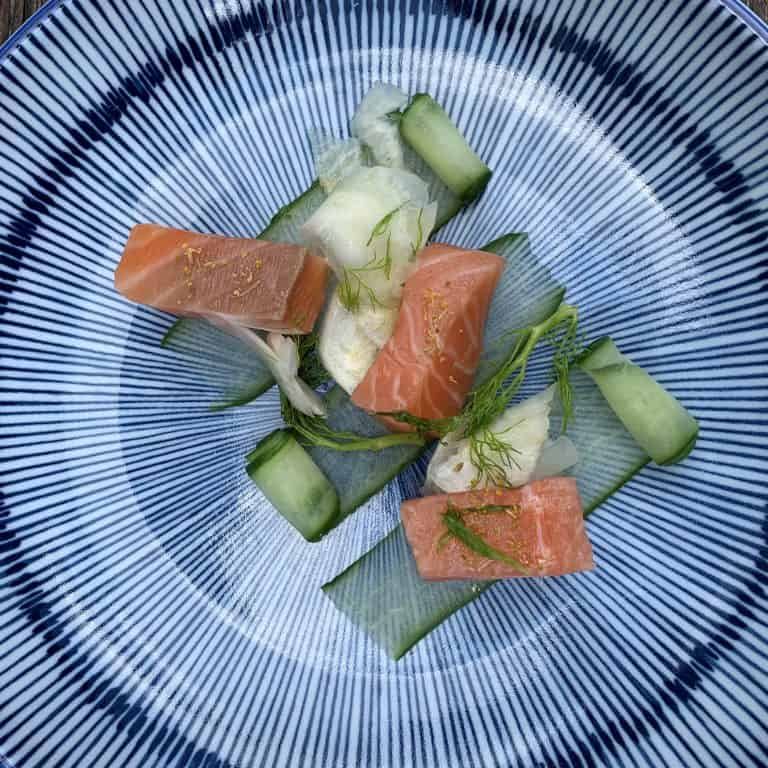 Apple Cured Salmon Cucumber Fennel